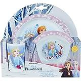 FUN HOUSE 005716 Disney Reine des NEIGES Ensemble Repas composé d'une Assiette, d'un Bol et d'un Verre pour Enfant