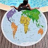 Carte du Monde Pays d'Amérique ins Serviette de Plage Super Grande Couverture à Franges Rondes, Serviette de Bain d'eau, Tapis Mat, tapisseries, Un