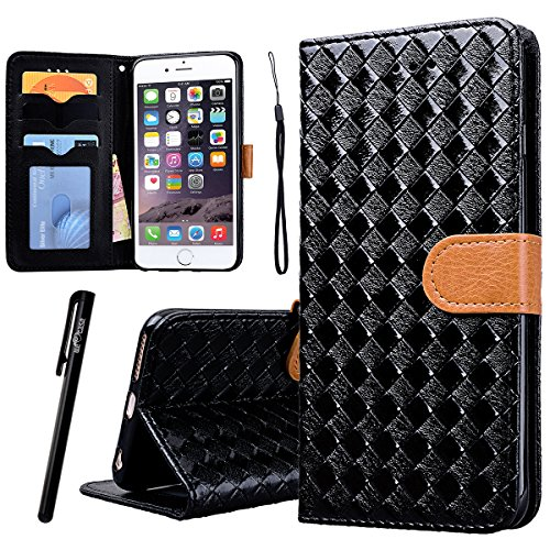 WE LOVE CASE iPhone 6 / 6s Hülle Wallet Weben Muster Im Retro Style Muster iPhone 6 / 6s Lederhülle Rot Handyhülle Flip Case Hülle Leder Klappbar Tasche Elegant Backcover PU Intern TPU Silikon Weiche  black