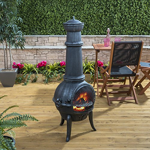 Madrid Large Cast Iron Chiminea with Barbecue Grill, Protective Cover and Poker