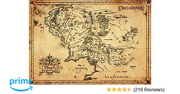 Lord Of The Rings Online World Map.Gb Eye Lord Of The Rings Map Parchment Poster Wood Various 65 X