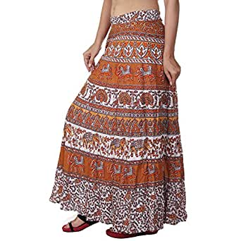 Fashiana Women's Cotton Wrap Around Skirt (FSKT091KT_Multy 2)
