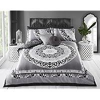 Pieridae - Funda de edredón y funda de almohada con diseño de mandala de Paisley, set ropa de cama para dormitorio (doble, gris)