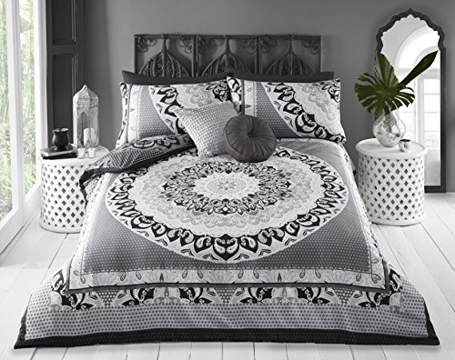 Pieridae Paisley Mandala Duvet Cover & Pillowcase Set Bedding Bedroom Daybed Cover (Double, Grey)