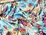 Floral Print Seidiger Satin Kleid Stoff Meterware, Sky Blau