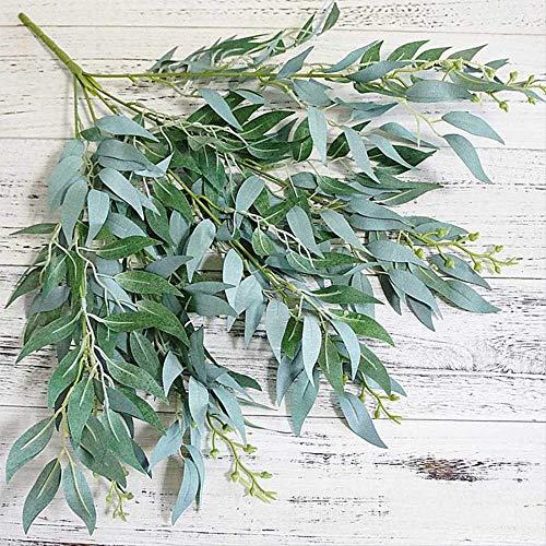 ZHYDNKD Künstliche Blume Künstliche Blätter Simulation Willow Gefälschte Blume Zubehör Dschungel Hochzeit Hintergrund Dekoration Laub Party Home DecorWeiß Grün (Trockner Blätter, Lavendel)
