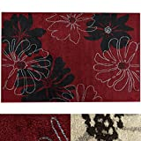 Design Teppich Marguerite | moderner Wohnzimmerteppich mit Trend Blumen Muster | in 2 Größen und vielen Farben für Wohnzimmer, Esszimmer, Schlafzimmer etc. | rot 160x220 cm