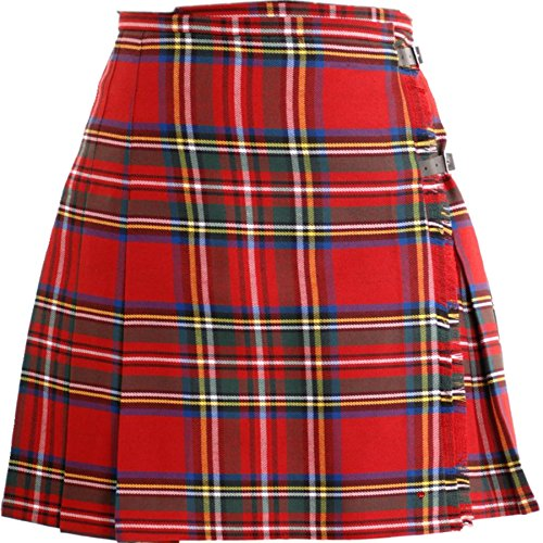 Ladies Deluxe Mini Skirt Kilt Royal Stewart Tartan option UK 14 | USA 12 | Euro 42 - (Tartan-mini-kilt)