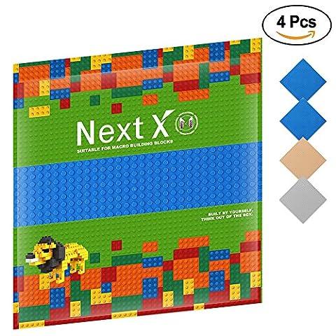 NextX 4 Stück Grundplatte für Classic Bausteine Plastik Bauplatte 25 x 25 cm - Blau+Grau+Sand (Ghostbusters Kostüm Diy)