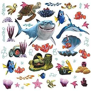 Thedecofactory RMK2059SCS Stickers Disney Le Monde de Nemo Roommates Repositionnables (44 Stickers), Vinyle, Multicolore, 104 x 26 x 2.5 cm