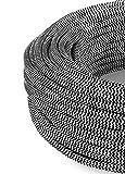 Cavo elettrico tondo rivestito in tessuto colorato rotondo Bianco Nero 10 Metri 3x0,75 per lampadari, lampade, abat jour. Design! 30 colori disponibili. Made in Italy!