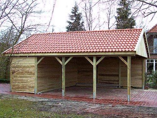 Carport Satteldach HOCKENHEIM I 600x700cm Geräteraum Satteldachcarport