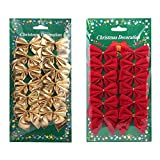 Mini Fiocchi di raso è perfetto per la decorazione festa di Natale.La confezione include12PCS fiocchi rossi + 12oro fiocchi