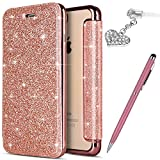 Coque iPhone 8 Plus,Coque iPhone 7 Plus,Placage cristal scintillant brillant Etui Housse Cuir PU Portefeuille Folio Flip Case Cover Wallet Coque Etui Housse Coque pour iPhone 8 Plus/7 Plus,Or rose