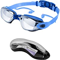 Swimming Goggles, Anti Fog Swim Goggles Adults UV Protection Adults No Leaking Swim Glasses for Men and Women Silver…