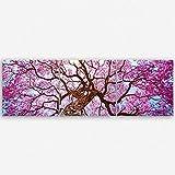 ge Bildet® hochwertiges Leinwandbild Panorama Naturbilder Landschaftsbilder - Rosa Lapacho Baum in Pocone - Brasilien - Natur Baum Pink Lila - 120 x 40 cm mehrteilig ( 3 teilig )| Wanddeko Wandbild Wandbilder Wohnzimmer deko Bild | 2212 B