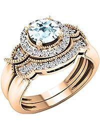 9880d6460d5 Or Rose 14 K 6 mm ronde Pierre précieuse et diamant Blanc pour femme mariée  Halo