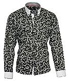 Louis Binder de Luxe Herren Hemd Shirt weißer Kragen weiße Manschetten figurbetont modern fit 100% Baumwolle Satin Langarm schwarz floral Gemustert 3XL 48