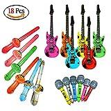 Amaza 18pcs Chitarra Gonfiabile Sassofono Microfono Photo Booth Props Accessori Feste e Compleanni (Colore Casuale)