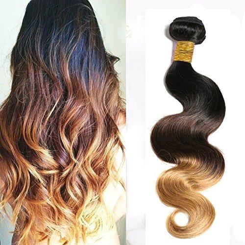 Sunny 100% Unprocessed Remy Ombre Tissage Bresilien Naturels Trois Tone Noir a Brun a Blond Extensions de Cheveux Humains 12Pouces