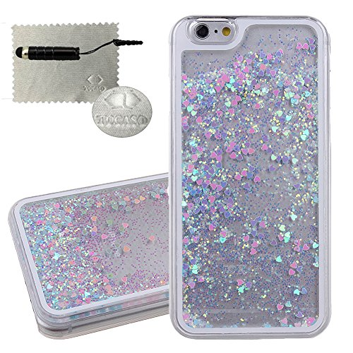 Cover iPhone 6 Transparente,TOCASO Blu Crystal Clear Bling Sparkles Glitzer