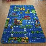 Sillón para niños/azul coche/carretera alfombra/alfombra de juegos/57x 100cm