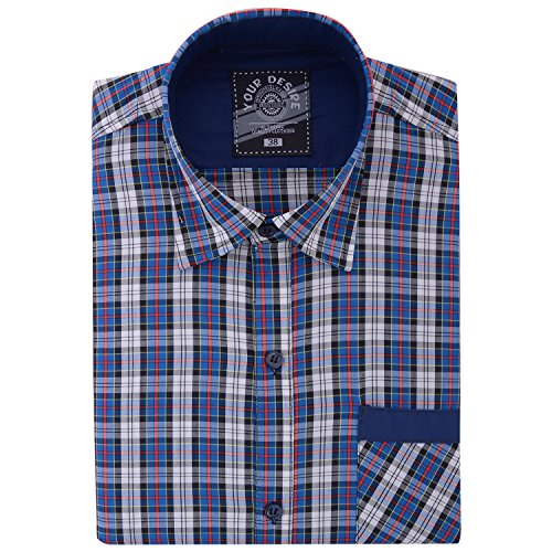 Your Desire Shirts Men Cotton White and Blue Formal Shirt (Size 38)