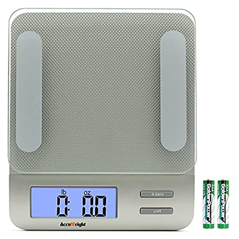 Accuweight digital Multifunction Kitchen and Food Scale, 11lb/5kg Capacity by 0.1oz/1g, Tempered Glass Platform,