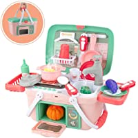 SANISHTH Kitchen Set Basket Toys with Music & Light, Spraying Mist Play Kitchen, Play Sink, Pretend Play Oven and Other…