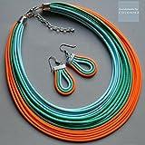 Textile Halskette und Ohrringe , Farben:Minze, türkis, neon orange