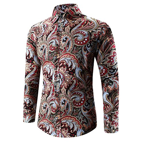 Herren Tops Internet Herren Hawaiian Shirt 3D Print T-Shirt Sport Langarm T-Shirt Bluse (M, blau) (Hawaiian Baumwolle Shirt)