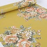 LoveFaye vintage peonia floreale Contact Paper Dark Yellow Peel & stick adesivo Shelf Liner cassetto 45cm da 9.8metri