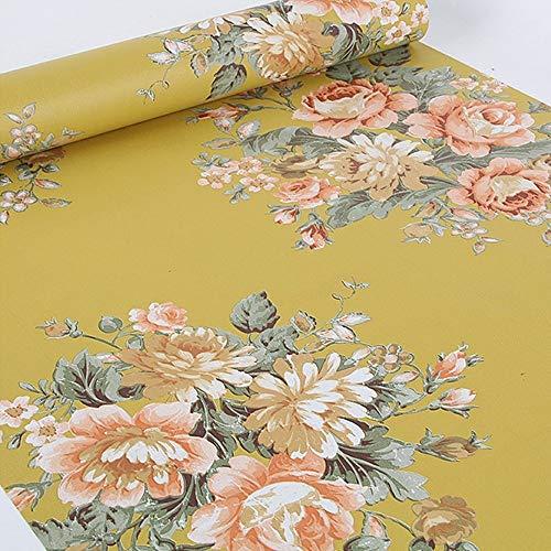 Lovefaye Papier adhésif rétro avec impression de pivoine, jaune foncé pour étagère, commode, tiroir 44 cm x 3 m environ