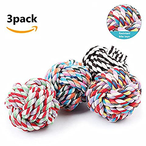 Morbuy Dog Chew Toy, Knots Rope for Small Dogs Teeth Cleaning Cotton Rope Dog Toy Random 3PC (D)