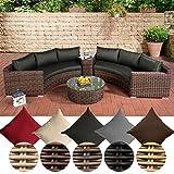 CLP Polyrattan-Gartenlounge Barbados mit 6 Sitzplätzen | Garten-Set bestehend aus 2 Sofas und 1 Glastisch | In verschiedenen Farben erhältlich Bezugfarbe: Anthrazit, Rattan Farbe braun-meliert