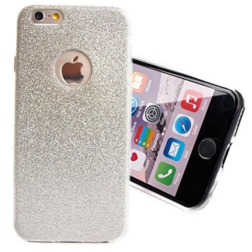 Glitzer Schutz Hülle TPU für Apple iPhone 4 4s Bling Weich Hülle Strass Weich Silikon Dünn Tasche Glitzer Handy Cover Case Silber