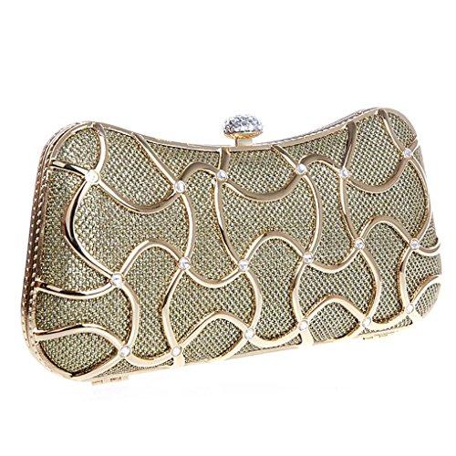 KAXIDY Damen Abendtasche Schultertaschen Umhängetasche mit Elegant Funkelndem Kristall Diamant Gold