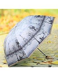 WFYJU-La Pintura de Aceite de Doble Cubierta Paraguas Retro Sun Umbrella Folding sombrilla Protector