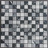 Marmor Mosaik Matte Schwarz/Grau/Weiss 30x30 cm 8 mm Naturstein Fliesen Bad M661