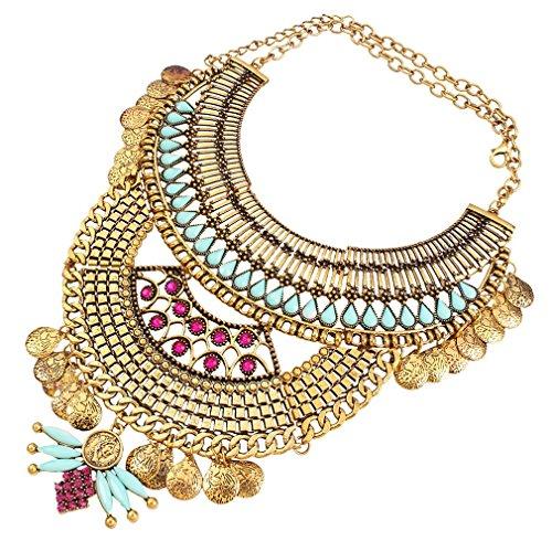 YAZILIND ethnische Art Resin Strass Bib Statement Choker Goldkragen-Halskette für Frauen Schmuck-Geschenk