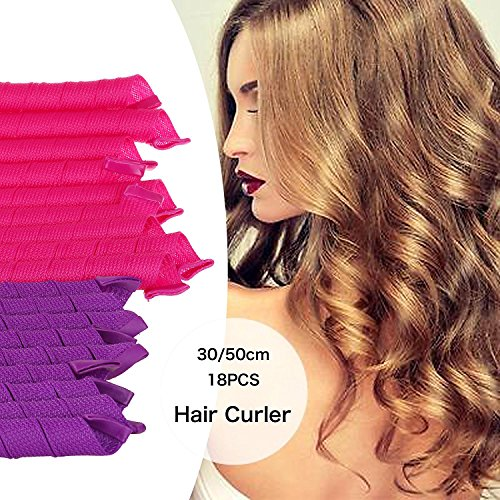 SGM Medium size Magic Spiral Hair Curler Rollers Styling Kit With Styling Hook (9 pieces -30 cm & 9 pieces - 50cm length)