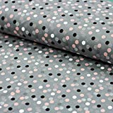 Stoff Baumwolljersey Multi Dots rosa grau 50cm x 145cm