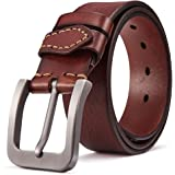 BOSTANTEN Classic Genuine Leather Dress Belt with Pin Buckle For Men 38mm Wide