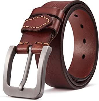 BOSTANTEN Classic Genuine Leather Dress Belt with Pin Buckle For Men 38mm Wide Brown