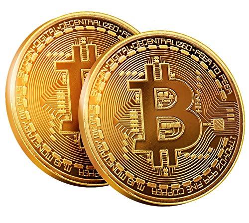 Bitcoin Münze 2 Stück by BRINGO | 24-Karat Echt-Gold Überzogen Mit Schutzhülle