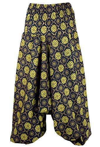GURU-SHOP Pantalones Afganos, Pantalones de Harén, Pantalones de Harén, Bombachos, Pantalones de Aladino, Negro, Algodón, Tamaño:40, Bloomers y Harén