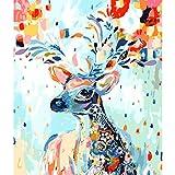 Souarts Regenbogen Hirsch DIY Digitales Ölgemälde von Nummer Kits Malen nach Zahlen Blumen Leinwand Deko