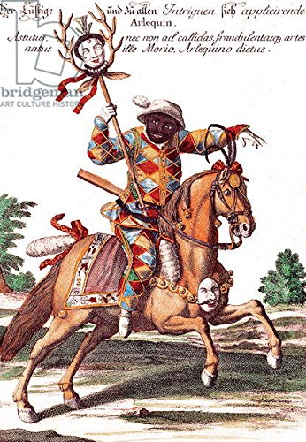 Harlequin On Horse Back (Coloured Engraving) (181030), Alu-dibond, 50 x 70 cm