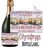 """Eternal Design Champagnerflaschenetikett mit der Aufschrift: """"Merry Christmas Best Sister & Brother In Law"""" NPXDCL29"""