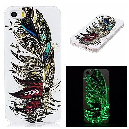 Etsue [Leuchtende Nacht] TPU Schutzhülle für iPhone 6 Plus/6S Plus (5.5 Zoll) Silikon Handyhülle, Malerei Tier Blume Muster Einzigartig Night Luminous TPU Silikon Handytasche Weiche Schlank Ultradünne Night Luminous,Tribal Bunte Feder